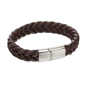 French Plait Brown Leather Bracelet