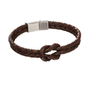 Double Row Knot Brown Leather Bracelet
