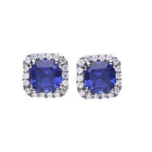 Cushion Cut Sapphire & Clear CZ Stud Earrings