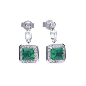 Art Deco Style Emerald CZ Pave Earrings