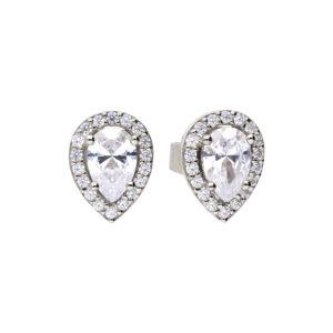 Teardrop Halo CZ Earrings