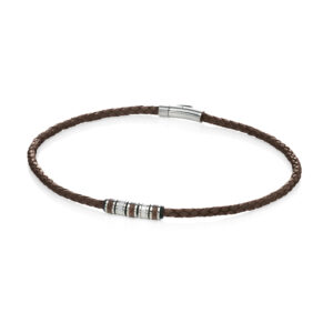 Stainless Steel Brown Leathr Bead 51cm Necklace