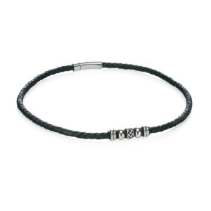 Stainless Steel Black Leather Celtic Bead Necklace
