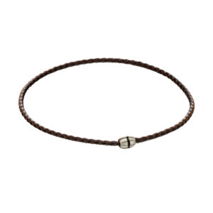 Brushed Bead Brown And Steel Necklace
