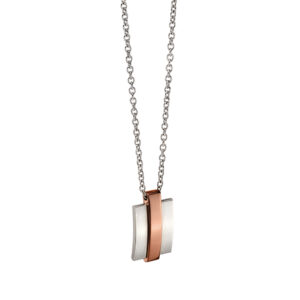 Steel Necklace With IP Brown Stripe