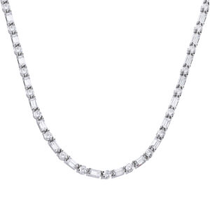 Baguette And Round CZ Necklace