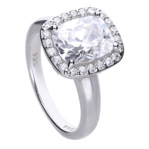 Cushion Cut CZ Cocktail Ring With Halo Surround