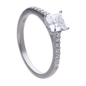 Princess Cut CZ Ring With Pave Shoulders