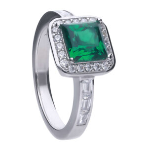 Art Deco Style Emerald CZ Pave Ring