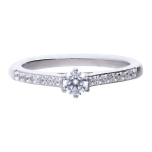 Solitaire Cz Ring With Pave Shoulders