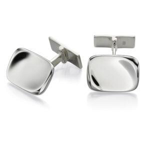 Silver Rectangle Organic Cufflinks