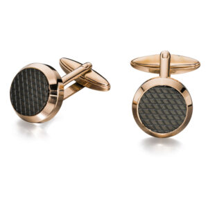 Rose And Black Textured Pvd Round Cufflinks