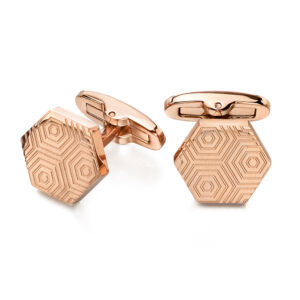 Rose Etched Hexagonal Cufflinks