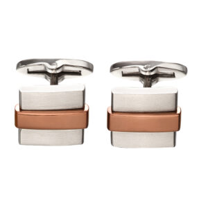 Steel Cufflinks With IP Brown Stripe