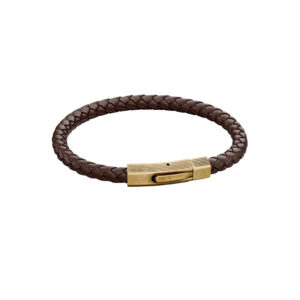 Woven Brown Leather & Bronze Stainless Steel Clip Clasp Bracelet