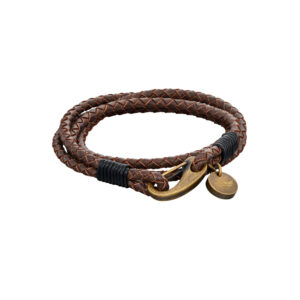 Woven Brown Leather & Bronze Stainless Steel Clasp Bracelet
