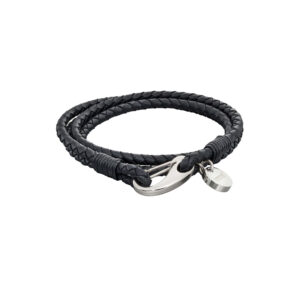 Woven Black Leather & Stainless Steel Feature Clasp Bracelet