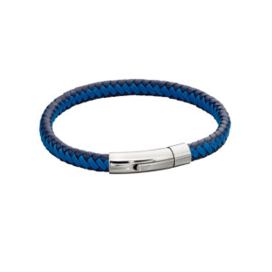 Woven Blue Leather & Stainless Steel Clip Clasp Bracelet