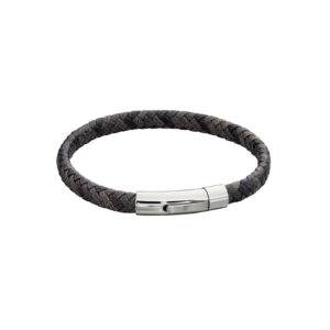 Woven Grey Leather & Stainless Steel Clip Clasp Bracelet
