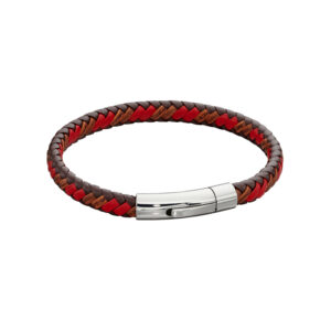 Woven Red Leather & Stainless Steel Clip Clasp Bracelet