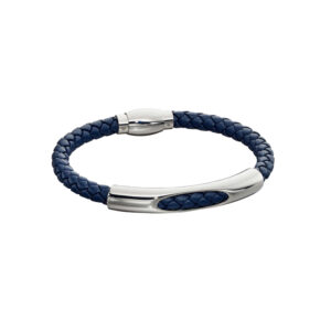 Woven Navy Blue Leather & Stainless Steel Magnetic Clasp Bracelet