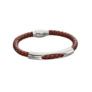 Woven Brown Leather & Stainless Steel Magnetic Clasp Bracelet