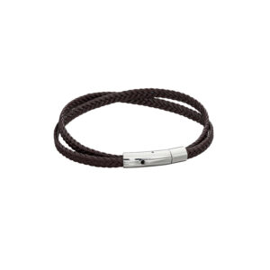 Woven Black Leather Crossover Stainless Steel Clip Clasp Bracelet
