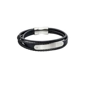 Woven Black Leather & Stainless Steel Multi Strand Bar Bracelet