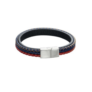 Woven Blue, Red & Grey Leather Stainless Steel Magentic Bracelet