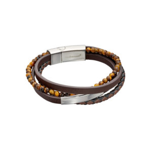 Multi Row Recycled Brown Leather Bracelet With Stainless Steel