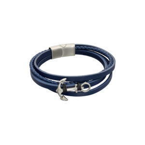 Navy Leather Multi Row Plaited Bracelet With Anchor