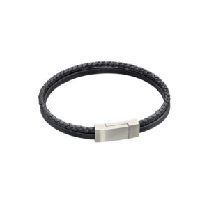 Black Recycled Leather Double Row Bracelet