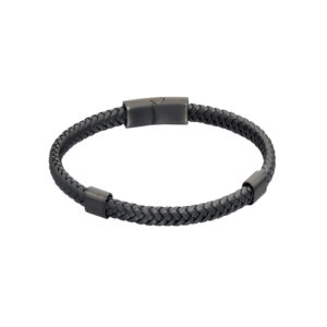 Plaited Black Recycled Leather And Black IP Bracelet