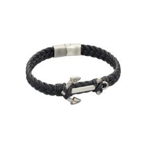 Black Leather Plaited Bracelet With Anchor