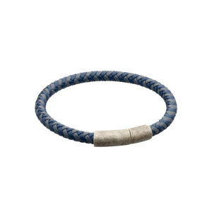 Two Tone Navy Recycled Leather Plaited Bracelet