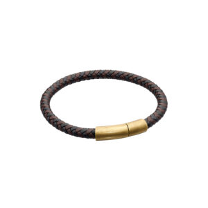 Two Tone Brown Recycled Leather Plaited Bracelet